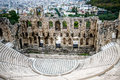 Herodes theater of the Acropolis with the city of Athens at background Royalty Free Stock Photo