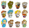 Heroes of russian fairy tales cubic characters vector illustration Stock Photo