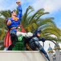 Hero team Superman, Green Lantern, Batman on roof Royalty Free Stock Photo