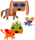 Heroic animals illustration of wearing super hero costumes Royalty Free Stock Images