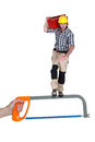 Heroic construction worker standing saw Stock Photography