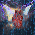 Heroic journey of the heart and wings in thunderstorm Royalty Free Stock Image