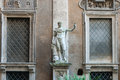 Heroic Romanesque Statue in the Ancient Palazzo Mattei di Giove Courtyar Royalty Free Stock Photo