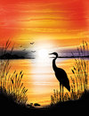 The heron on the lake on sunset