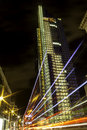 Heron tower in london at night with traffic going past Stock Photos