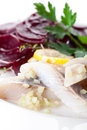 Herring with beets snack onion and appetizer in restaurant Royalty Free Stock Photography