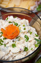 Herring cream onion salad bowl of Royalty Free Stock Images