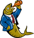 Herring fish drinking beer bottle Royalty Free Stock Photo