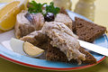 Herring forshmak with brown bread closeup Royalty Free Stock Image