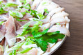 Herring Norwegian with greens Royalty Free Stock Image