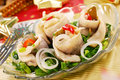 Herring rolls with  chive and onion for christmas Royalty Free Stock Photos