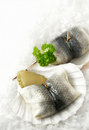 Herring rolls roll mops chilled marinated or with white onion and gherkins with a parsley garnish in scallop shells settled on a Royalty Free Stock Image