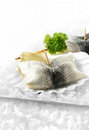 Herring rolls roll mops chilled marinated or with white onion and gherkins with a parsley garnish in scallop shells settled on a Stock Photography