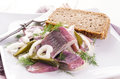 Herring salad as closeup on a white plate Stock Images