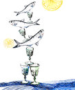 Herring snack indian ink illustration hand draw of with vodka glass popular in poland Stock Photography