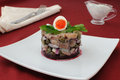 Herring tartare with capers and sour cream Stock Photo