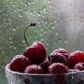 сherry with rain drops cherries a Royalty Free Stock Photos