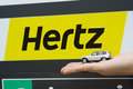 Hertz car rental valencia spain january a sign at the valencia airport the corporation is an american company Stock Photos