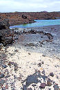 Hervideros in white coast lanzarote water and summer brown rock spain beach stone Stock Photography