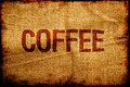 Hesian sacking with coffee title grunge background Royalty Free Stock Images