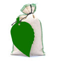 Hessian bag with green blank tag Stock Image