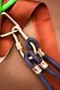Het beklimmen carabiner met kabel Royalty-vrije Stock Foto's
