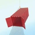 Het concept van het de invoerprobleem rode verschepende container met watherthro Stock Fotografie