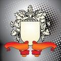 Het element van CREST met rood lint Stock Foto