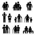 Het gelukkige Pictogram van het Pictogram van de Familie Stock Foto's