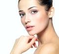 Het gezicht van de schoonheid van jonge vrouw. De zorgconcept van de huid. Stock Afbeelding
