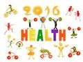 Het gezonde eten kleine grappige groenten rond de woordgezondheid Stock Fotografie