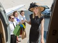 Het glimlachen rich woman with shopping bags het inschepen Royalty-vrije Stock Afbeeldingen