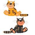 Het karakter van de tijger en van de kat illustration.isolated Royalty-vrije Stock Fotografie