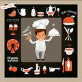 Het koken concept glimlachende chef kok showing ok sign en dienend voedsel Royalty-vrije Stock Foto's
