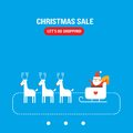 Het leuke santa claus new year christmas holiday vlakke ontwerp van de groetkaart Royalty-vrije Stock Afbeelding