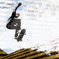 Het met een skateboard rijden van Lay-out Grunge Stock Afbeeldingen