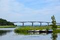 Het roeien van boten door brug Royalty-vrije Stock Foto