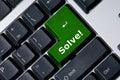 Het toetsenbord met groene sleutel lost op! Stock Afbeelding