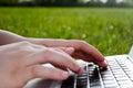 Het typen op laptop in aard Royalty-vrije Stock Foto