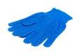 Het werk gloves blauw kleur geïsoleerde ower wit Stock Foto
