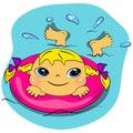 Het zwemmende meisje van het beeldverhaal in sea.summer strandvakantie Stock Fotografie