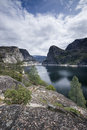 Hetch hetchy reservoir vertical image of in yosemite national park Royalty Free Stock Photos