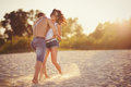 Heterosexual Couple on the beach Royalty Free Stock Photo