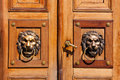 Heurtoirs de porte de lions Photo stock
