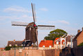 Heusden windmill and drawing bridge in a fortified town in the netherlands Stock Photography