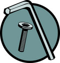 Hex driver key and threaded bolt. Vector available Royalty Free Stock Photo