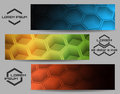 Hexagon banner set abstract design hexagonal shapes or header three color variations and separated logo samples on grey free font Royalty Free Stock Photos