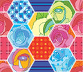 Hexagon big colorful rose style seamless pattern