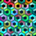 Hexagon with color triangles.Abstract seamless background. Vector illustration. Colorful polygon style with triangular geometric p