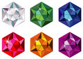 Hexagon cut precious stones with sparkle Royalty Free Stock Images